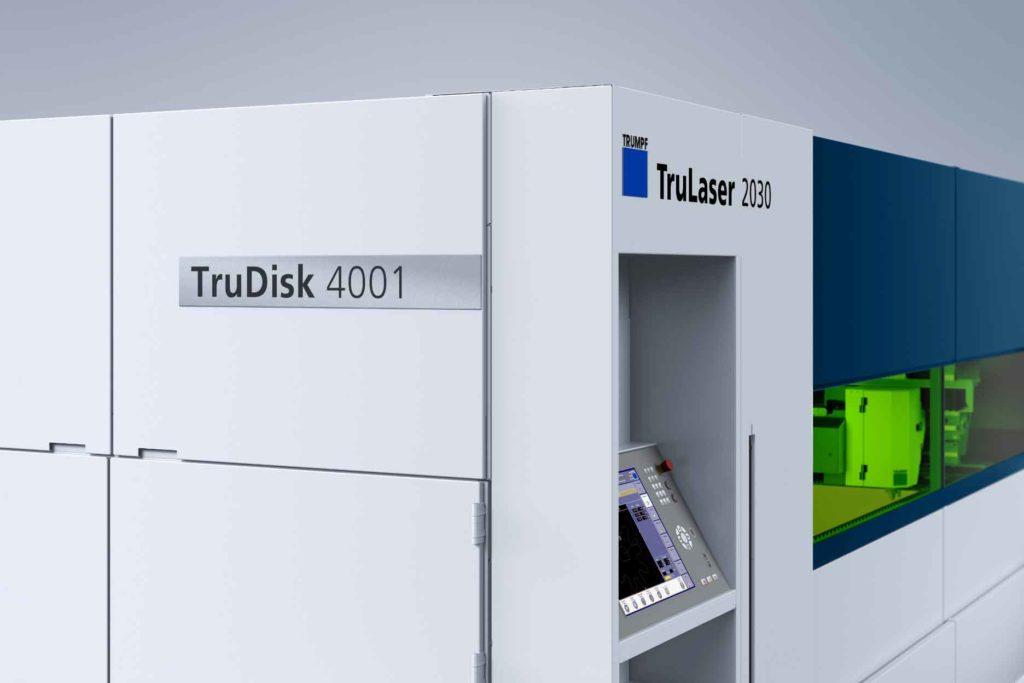 TruDisk TruLaser 2030 fiber, arbetar med TruDisk laser, som erbjuder fördelarna med fastkropps laserskärning. Maskinen finns tillgänglig med tre eller fyra kW lasereffekt.