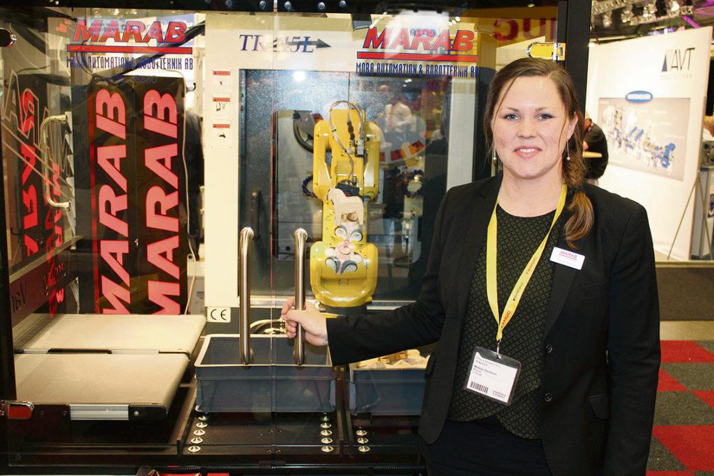 Familjeföretaget Marab representerades av Matilda Bastman, med ansvar för projektledning och marknadsföring. På mässan demonstrerade företaget färdiga lösningar för maskinbetjäning.