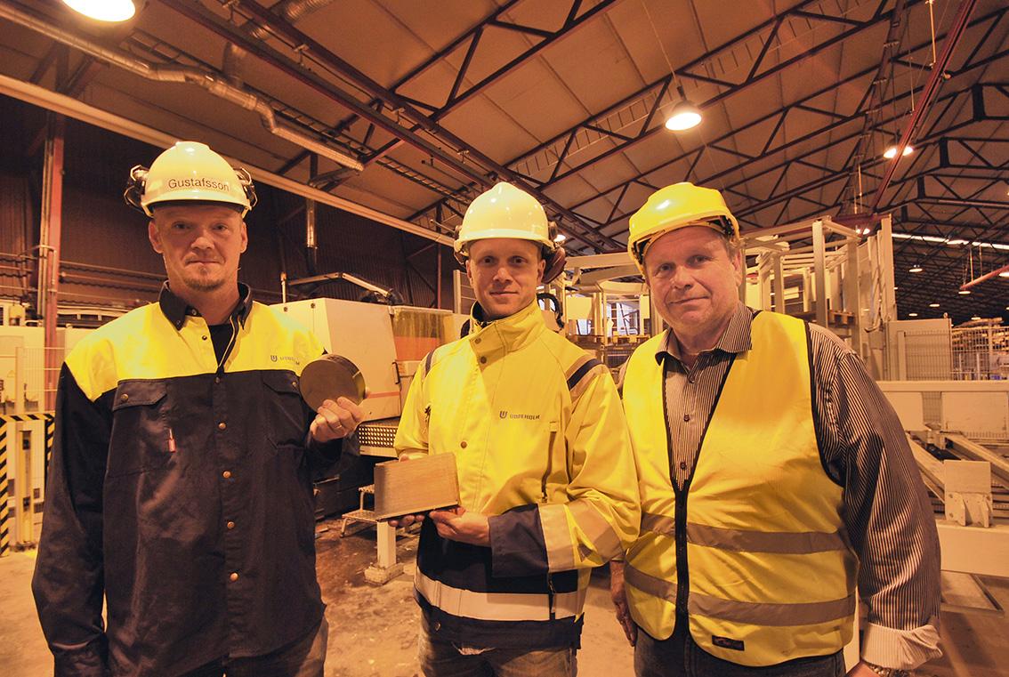 Här ser vi grabbarna som medverkat i reportaget, Pär Gustafsson, Ola Axelsson Uddeholm AB och Mikael Warström Ahlsell Maskin AB.