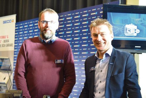 Schunk-Intec ställde ut. Jonas Roos och Roger Cronholm ser vi på bilden.