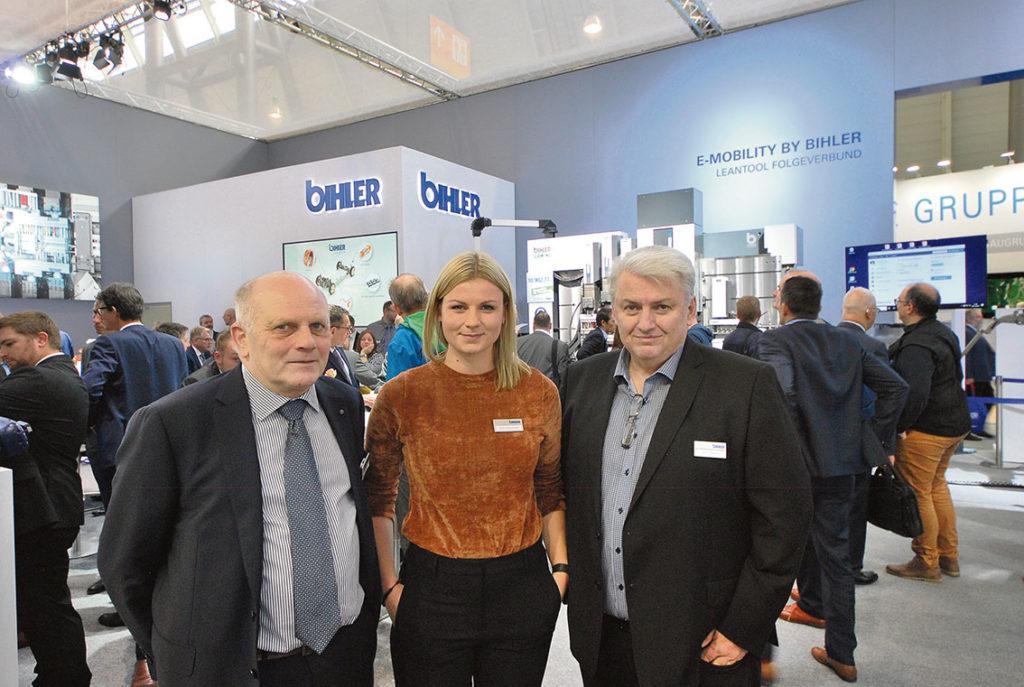 Bihlers säljteam i Sverige. Torben Theter BEP Teknik, Jonna Bäckdahl och Mirko Miljevic på Axelent Engineering.