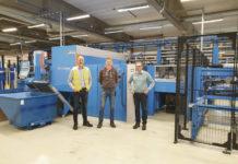 På bilden syns från vänster Per Sigvardsson projektledare Din Maskin, Lars Andersson förtillverkningschef Rasch och Anders Wolving platschef Rasch.